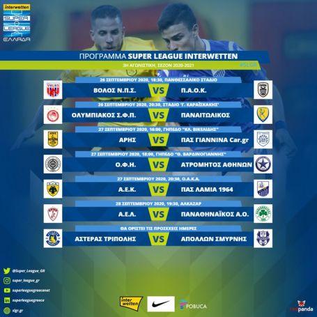 Το πρόγραμμα της 3ης αγωνιστικής – Η ημερομηνία του ΑΕΛ – ΠΑΟ   panathinaikos24.gr